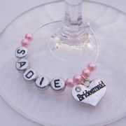Bridesmaid Personalised Wine Glass Charm